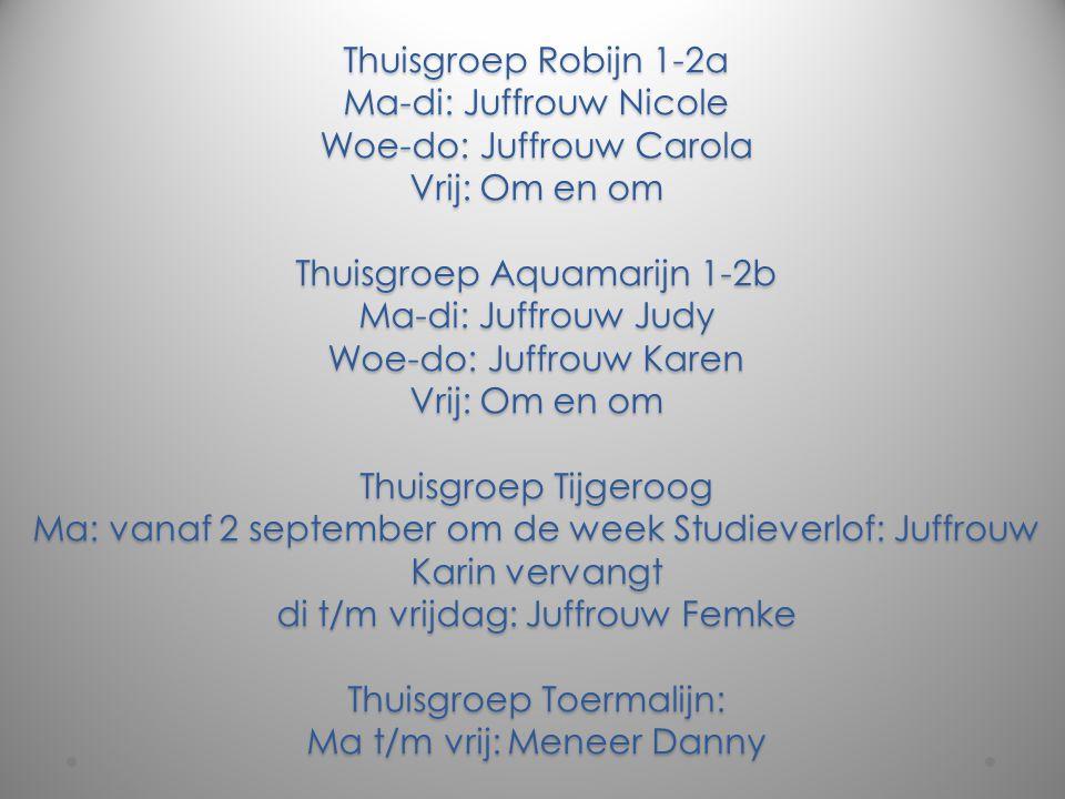 Thuisgroep Robijn 1-2a Ma-di: Juffrouw Nicole Woe-do: Juffrouw Carola Vrij: Om en om Thuisgroep Aquamarijn 1-2b Ma-di: Juffrouw Judy Woe-do: Juffrouw Karen Vrij: Om en om Thuisgroep Tijgeroog Ma: vanaf 2 september om de week Studieverlof: Juffrouw Karin vervangt di t/m vrijdag: Juffrouw Femke Thuisgroep Toermalijn: Ma t/m vrij: Meneer Danny
