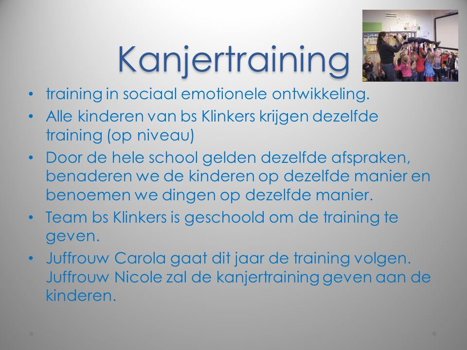 Kanjertraining training in sociaal emotionele ontwikkeling.