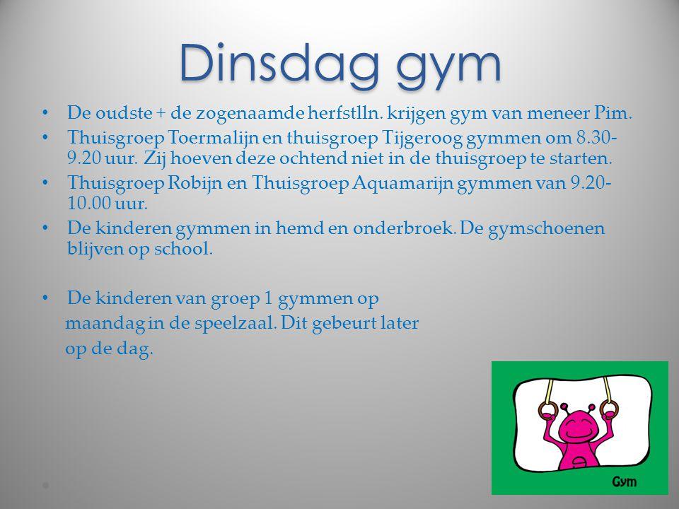 Dinsdag gym De oudste + de zogenaamde herfstlln. krijgen gym van meneer Pim.
