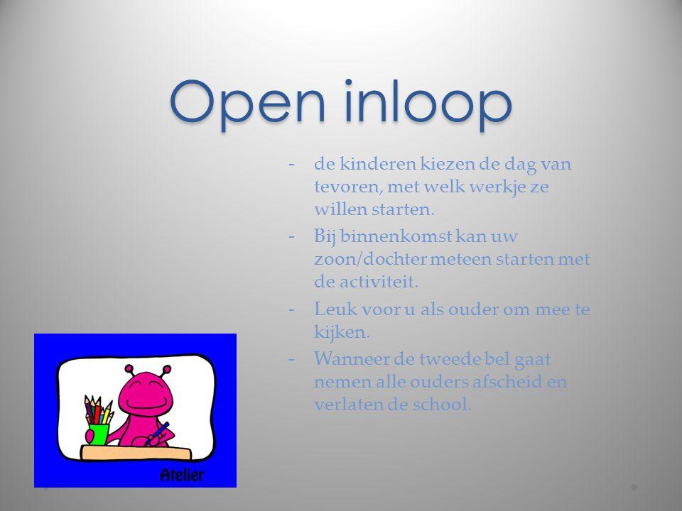Open inloop de kinderen kiezen de dag van tevoren, met welk werkje ze willen starten.