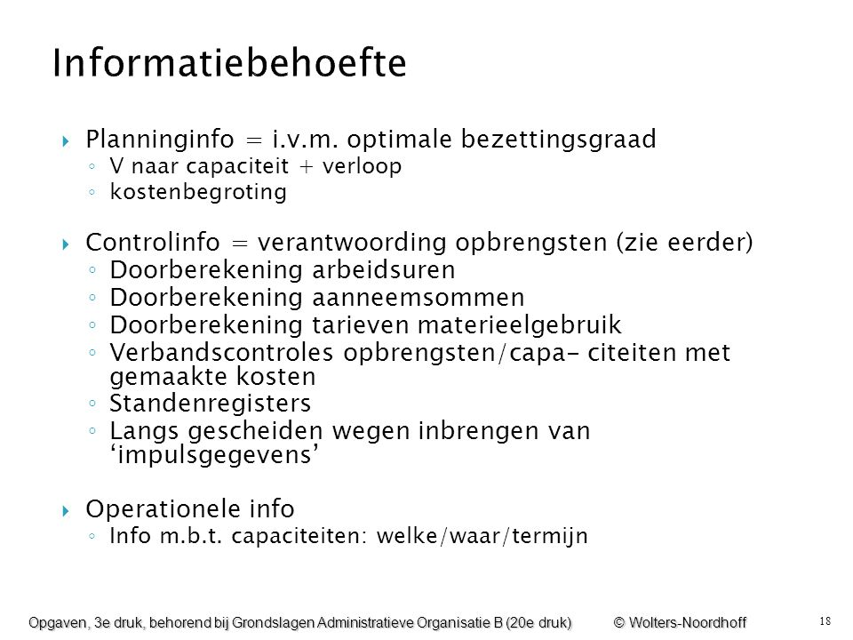 Informatiebehoefte Planninginfo = i.v.m. optimale bezettingsgraad