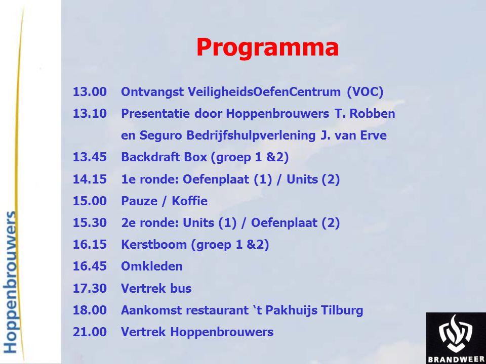 Programma 13.00 Ontvangst VeiligheidsOefenCentrum (VOC)