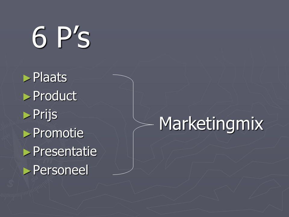 6 P's Plaats Product Prijs Promotie Presentatie Personeel Marketingmix