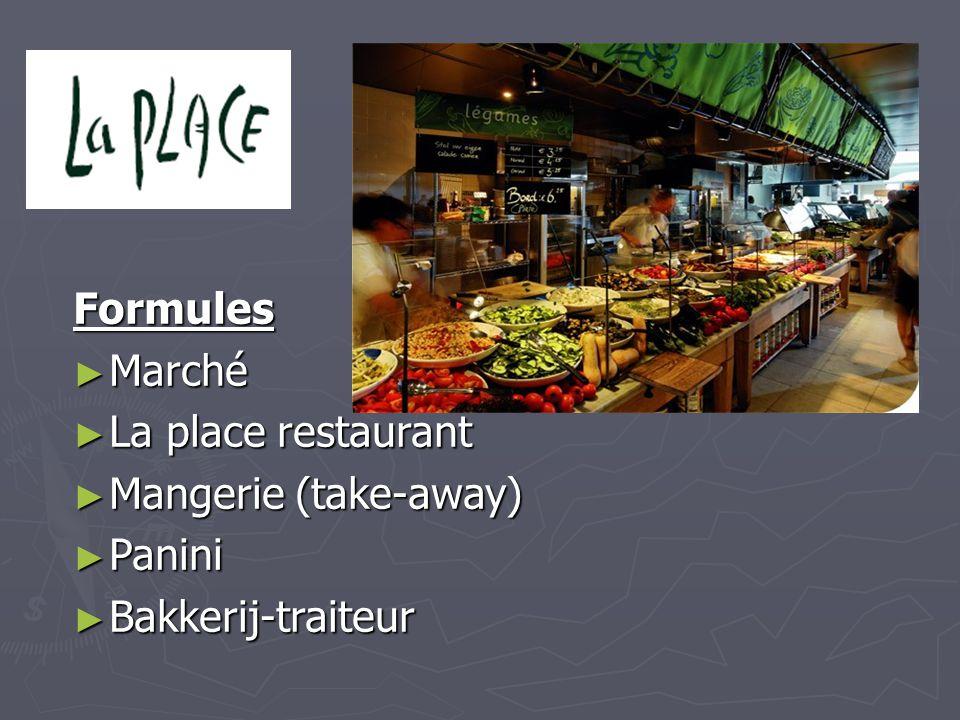 Formules Marché La place restaurant Mangerie (take-away) Panini Bakkerij-traiteur