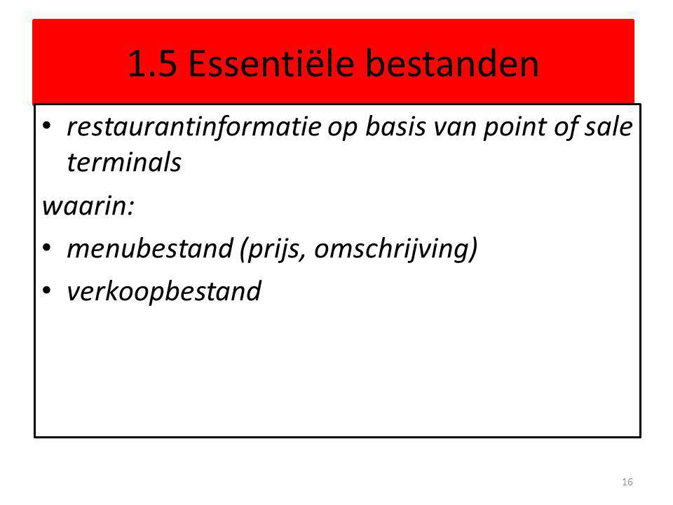 1.5 Essentiële bestanden restaurantinformatie op basis van point of sale terminals. waarin: menubestand (prijs, omschrijving)