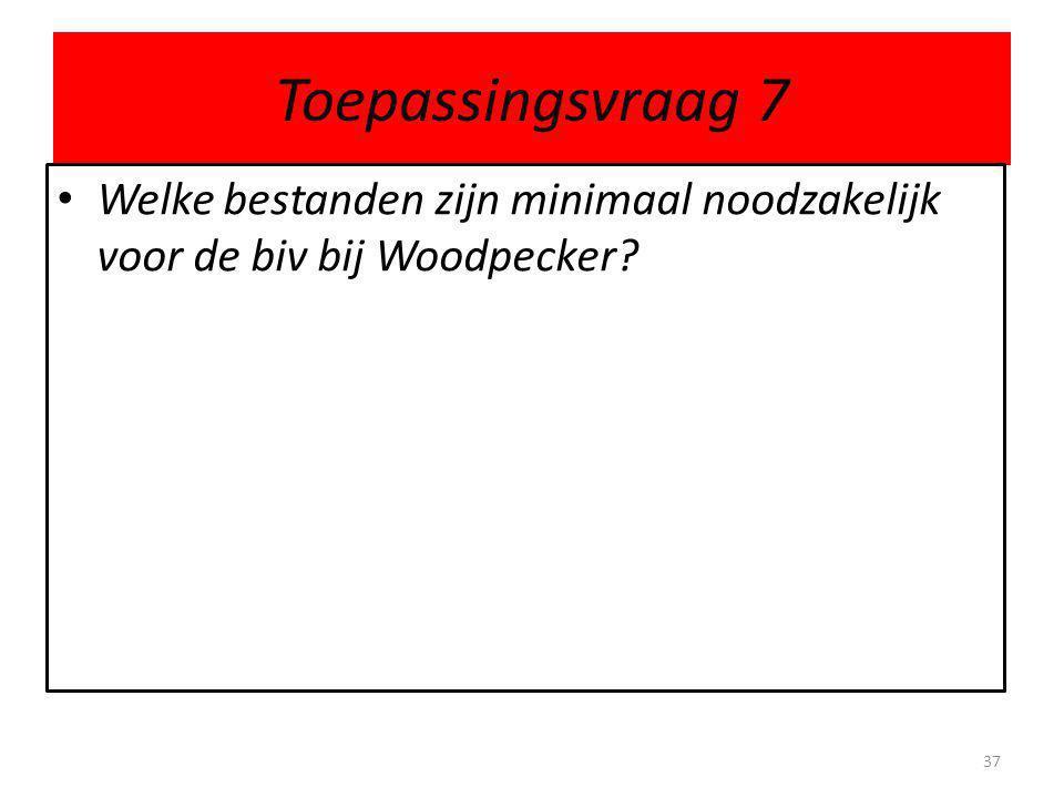 Toepassingsvraag 7 Welke bestanden zijn minimaal noodzakelijk voor de biv bij Woodpecker