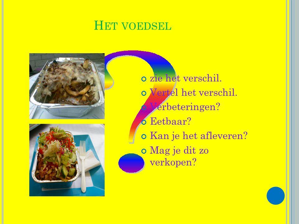 Het voedsel zie het verschil. Vertel het verschil. Verbeteringen