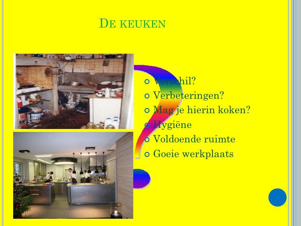 De keuken Verschil Verbeteringen Mag je hierin koken Hygiëne