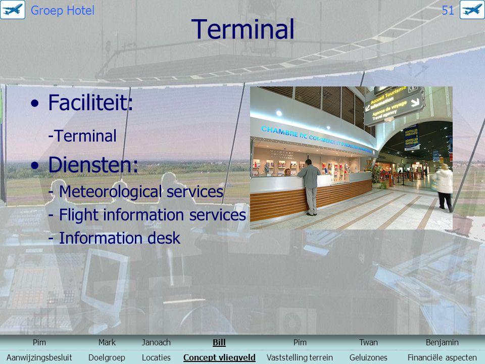 Terminal Faciliteit: -Terminal Diensten: - Meteorological services