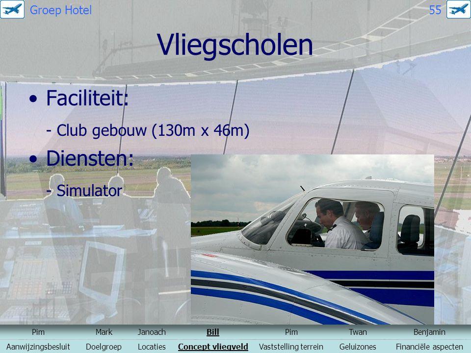 Vliegscholen Faciliteit: - Club gebouw (130m x 46m) Diensten: