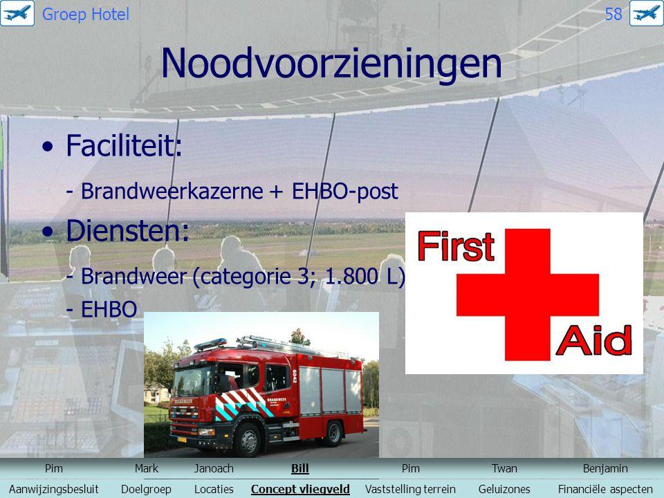 Noodvoorzieningen Faciliteit: - Brandweerkazerne + EHBO-post Diensten:
