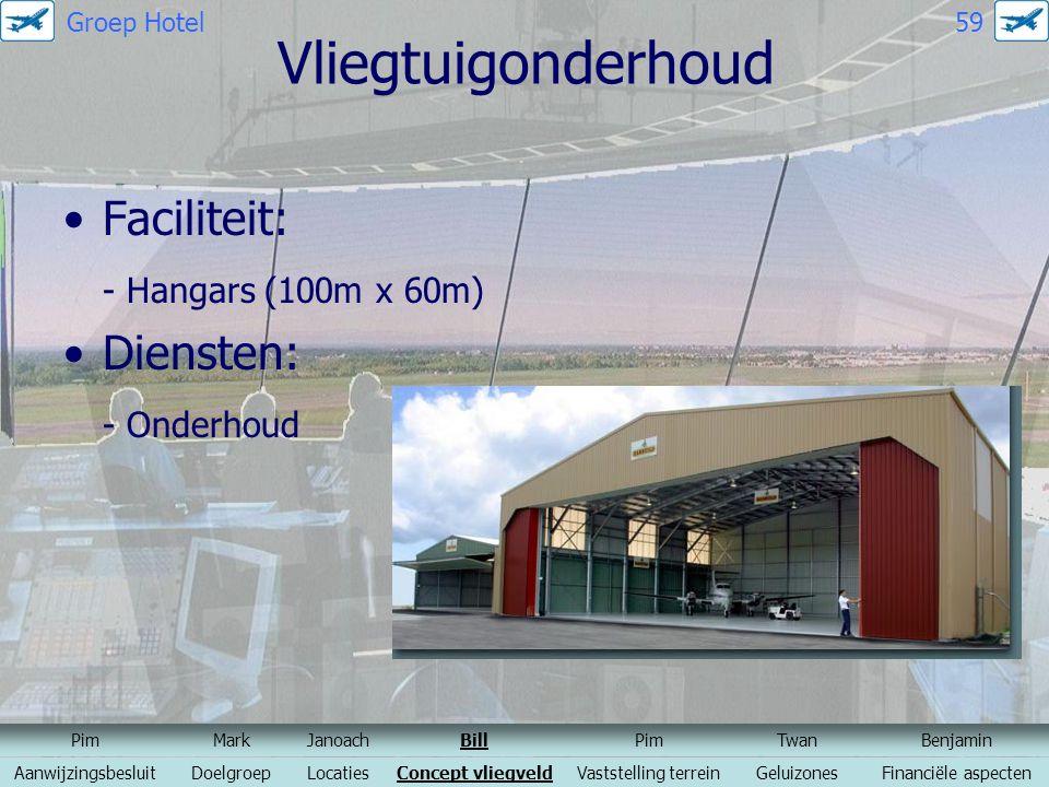 Vliegtuigonderhoud Faciliteit: - Hangars (100m x 60m) Diensten: