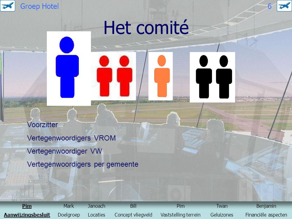 Het comité Groep Hotel 6 Voorzitter Vertegenwoordigers VROM