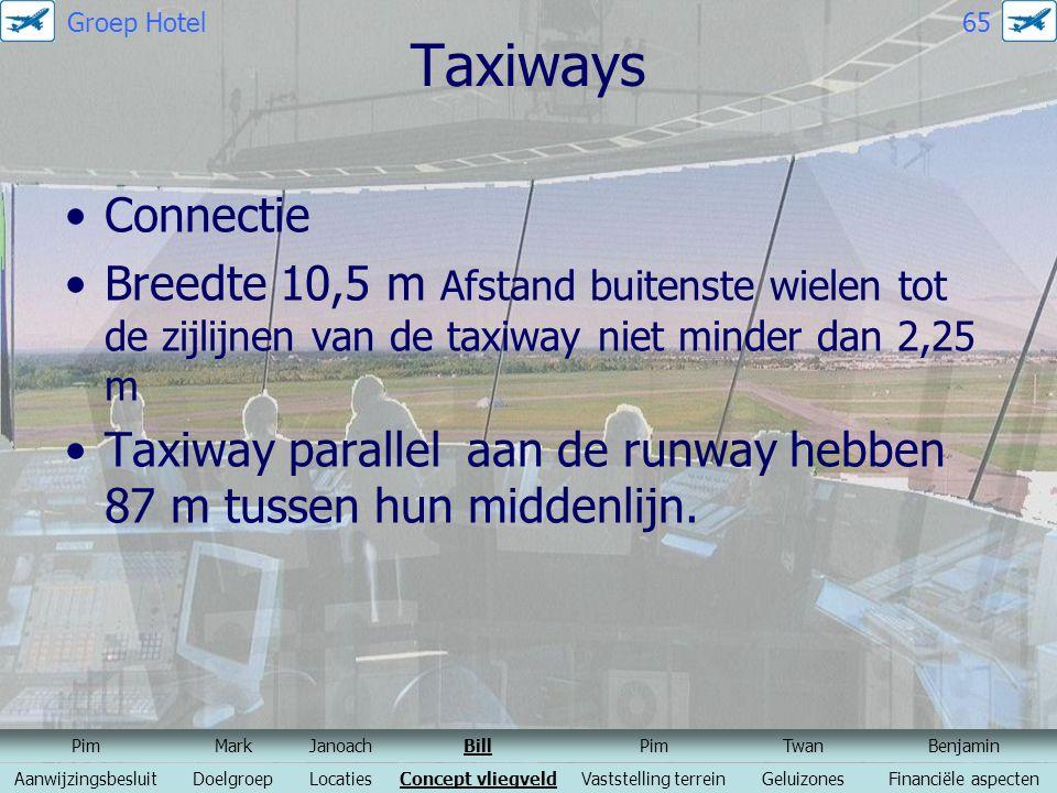 Groep Hotel 65 Taxiways. Connectie. Breedte 10,5 m Afstand buitenste wielen tot de zijlijnen van de taxiway niet minder dan 2,25 m.