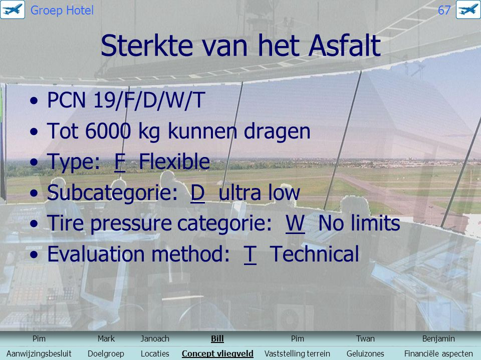 Sterkte van het Asfalt PCN 19/F/D/W/T Tot 6000 kg kunnen dragen
