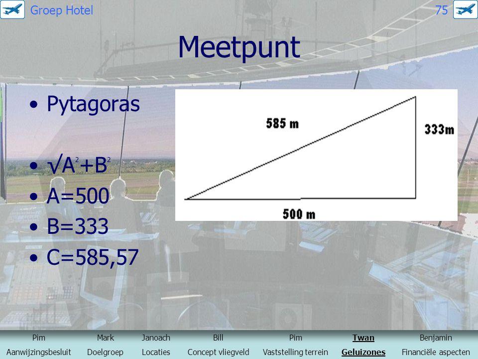 Meetpunt Pytagoras √A2+B2 A=500 B=333 C=585,57 Groep Hotel 75 Pim Mark