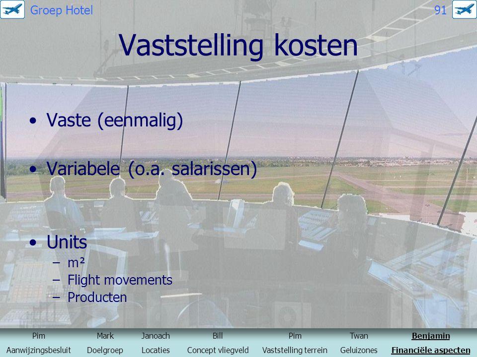 Vaststelling kosten Vaste (eenmalig) Variabele (o.a. salarissen) Units