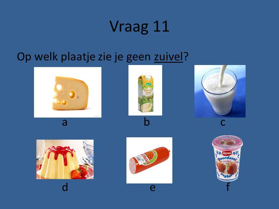 Vraag 11 Op welk plaatje zie je geen zuivel a b c d e f