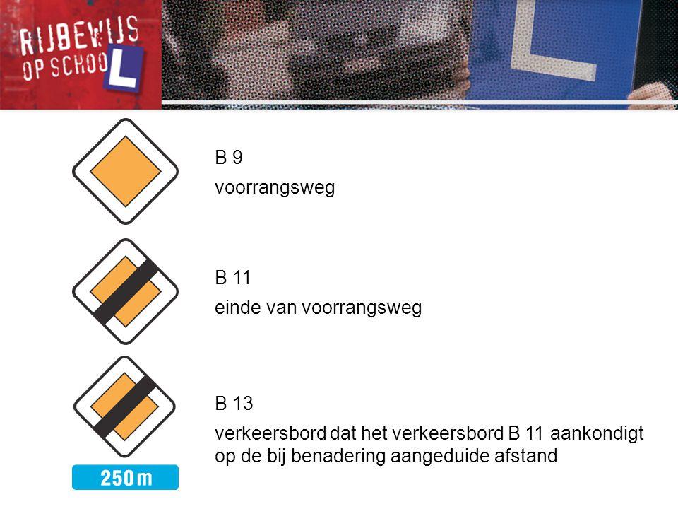 B 9 voorrangsweg. B 11. einde van voorrangsweg.