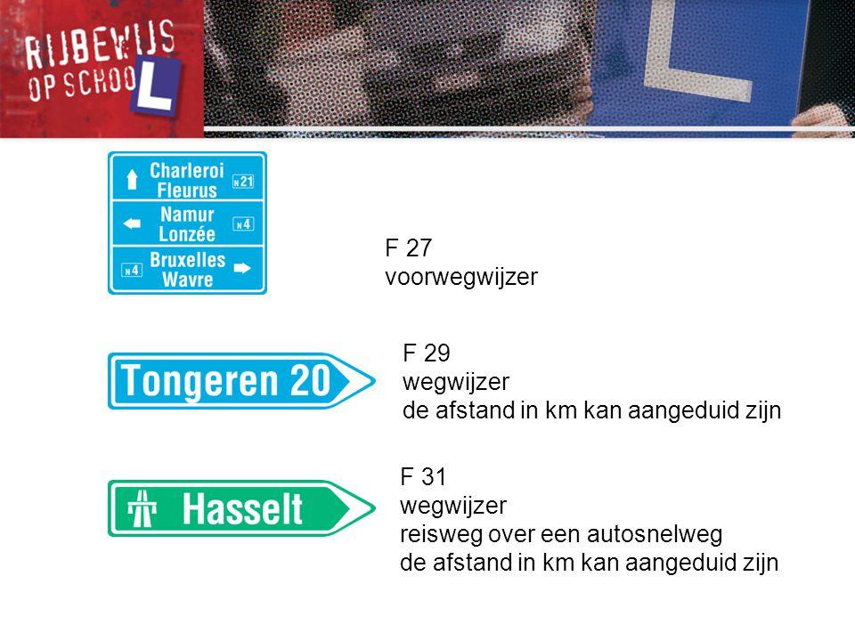 F 27 voorwegwijzer. F 29. wegwijzer. de afstand in km kan aangeduid zijn. F 31. wegwijzer. reisweg over een autosnelweg.