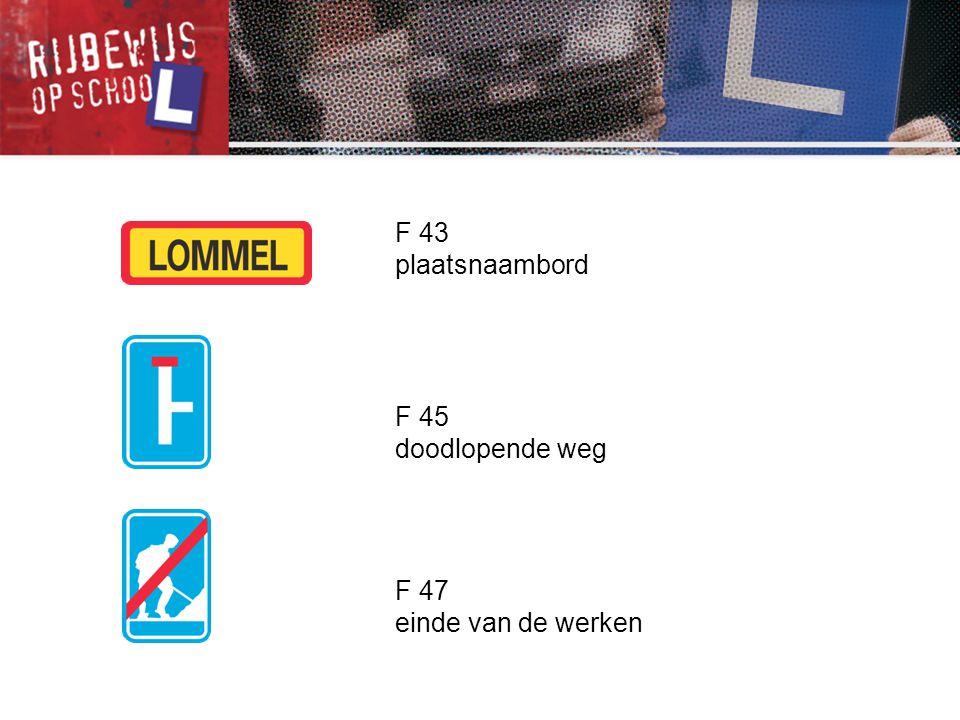 F 43 plaatsnaambord F 45 doodlopende weg F 47 einde van de werken
