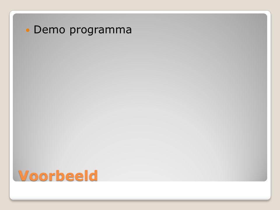 Demo programma Voorbeeld