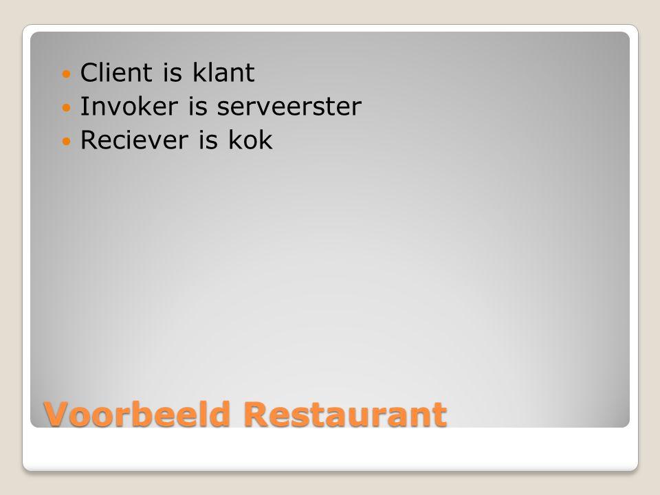 Voorbeeld Restaurant Client is klant Invoker is serveerster