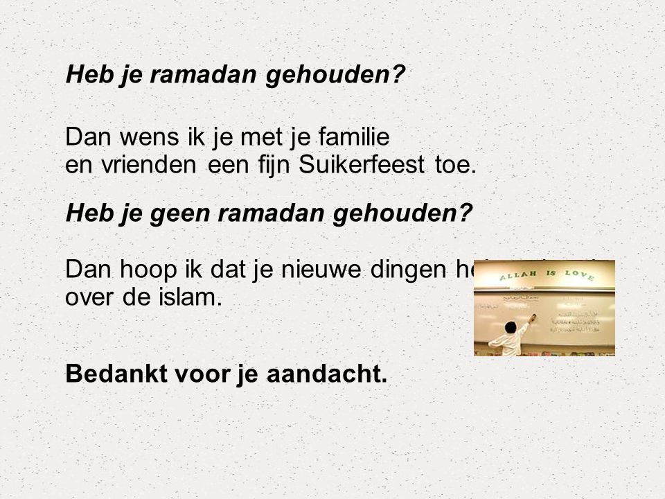Heb je ramadan gehouden