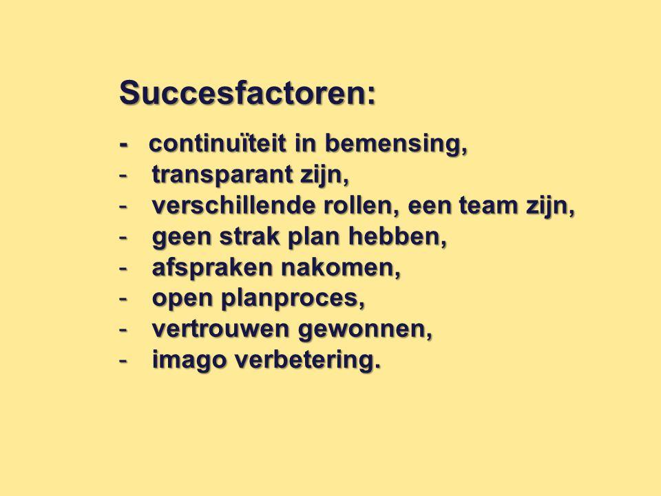 Succesfactoren: - continuïteit in bemensing, transparant zijn,