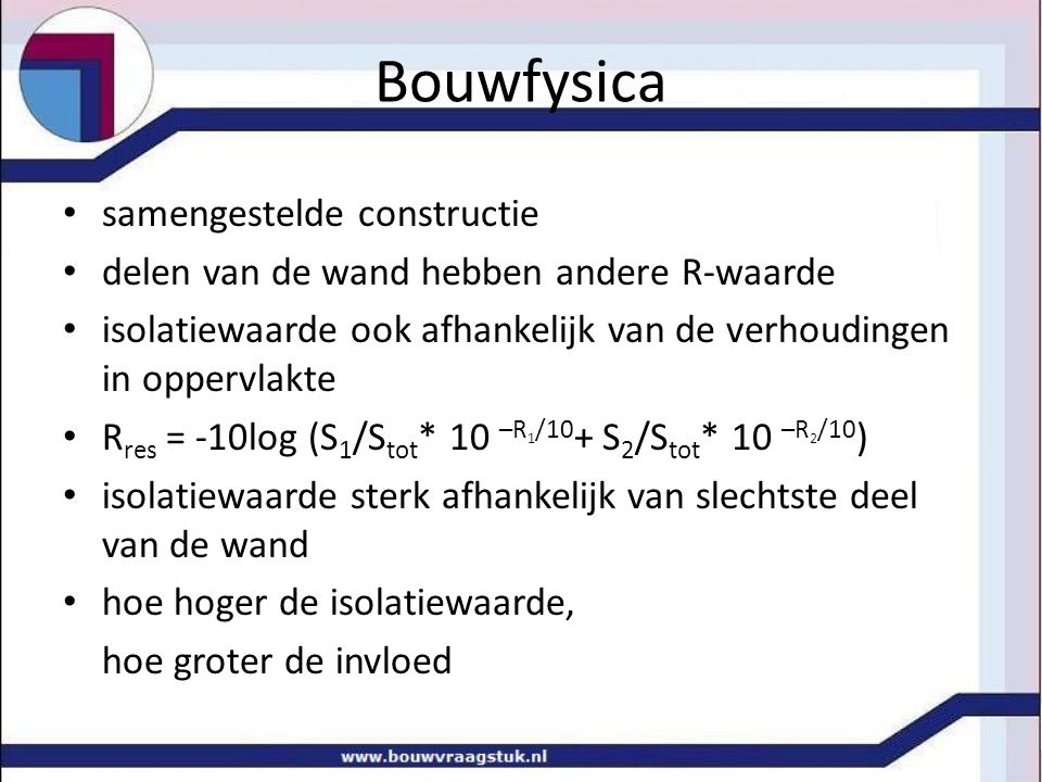 Bouwfysica samengestelde constructie