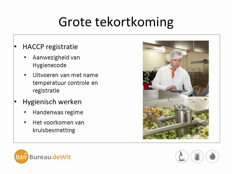 Grote tekortkoming HACCP registratie Hygienisch werken