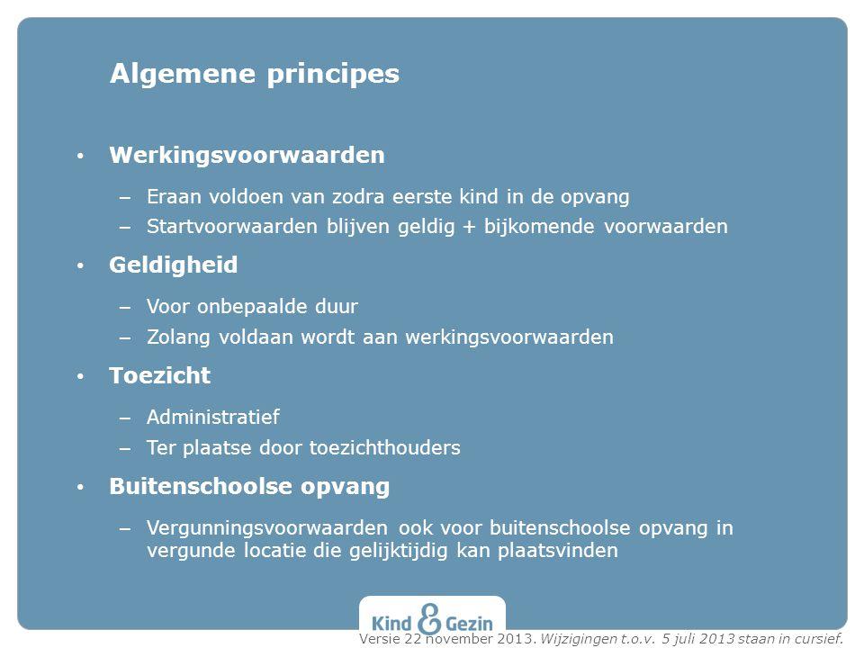 Algemene principes Werkingsvoorwaarden Geldigheid Toezicht