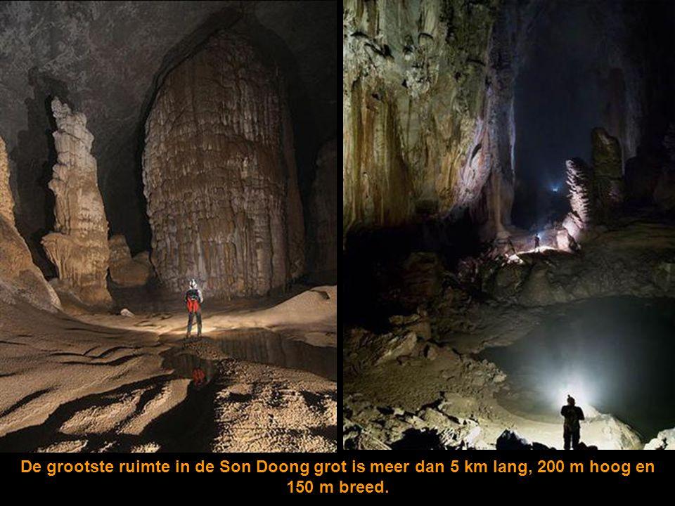 De grootste ruimte in de Son Doong grot is meer dan 5 km lang, 200 m hoog en 150 m breed.