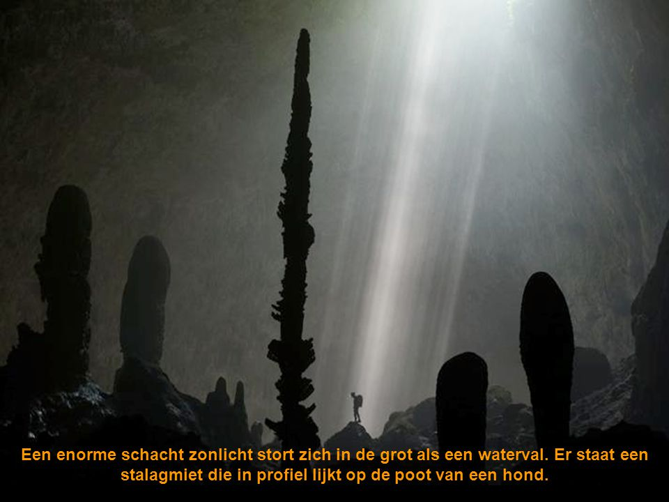 Een enorme schacht zonlicht stort zich in de grot als een waterval
