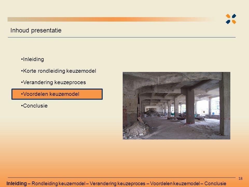 Inhoud presentatie Inleiding Korte rondleiding keuzemodel