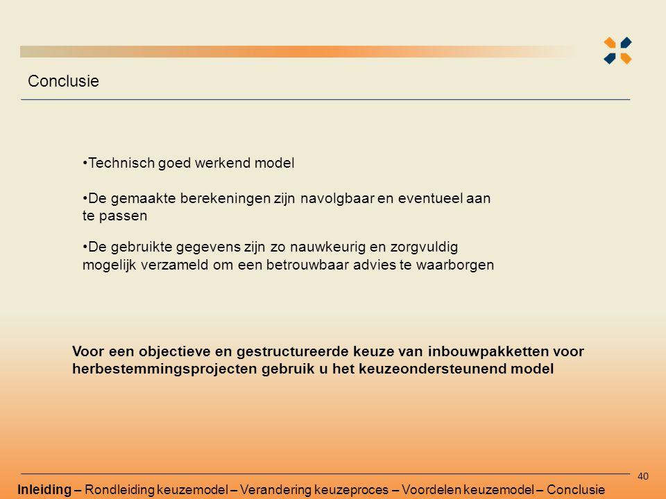 Conclusie Technisch goed werkend model