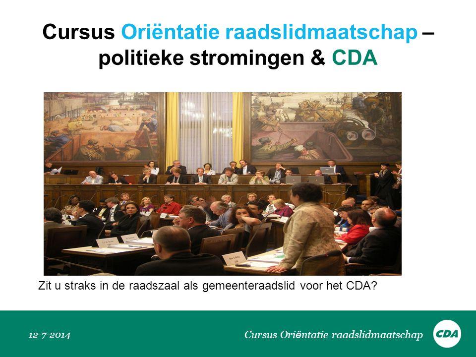 Cursus Oriëntatie raadslidmaatschap – politieke stromingen & CDA