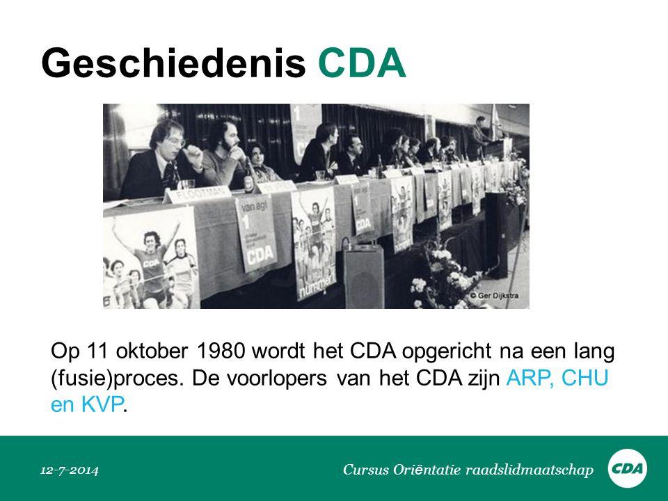 Geschiedenis CDA Op 11 oktober 1980 wordt het CDA opgericht na een lang (fusie)proces. De voorlopers van het CDA zijn ARP, CHU en KVP.
