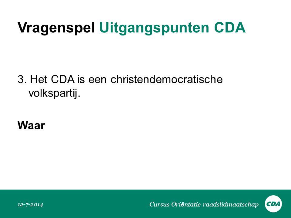 Vragenspel Uitgangspunten CDA