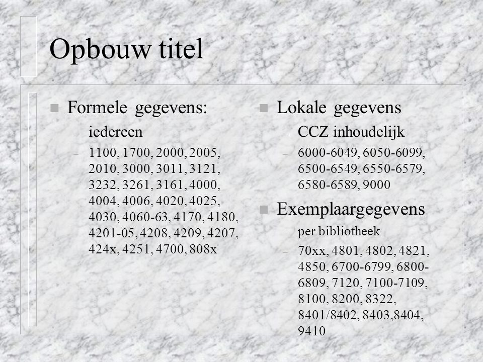Opbouw titel Formele gegevens: Lokale gegevens Exemplaargegevens