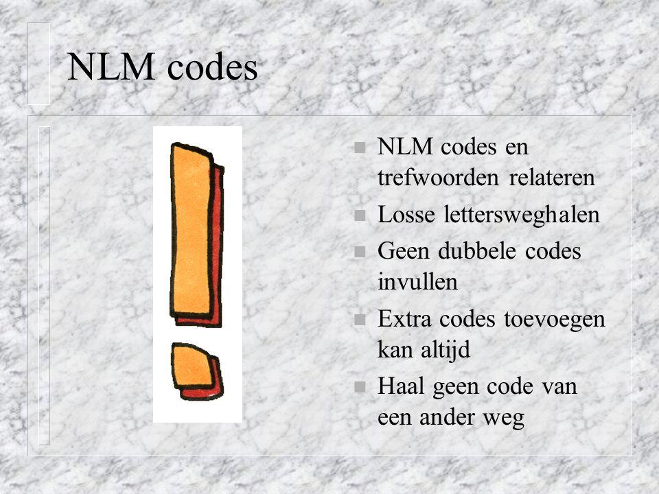 NLM codes NLM codes en trefwoorden relateren Losse lettersweghalen