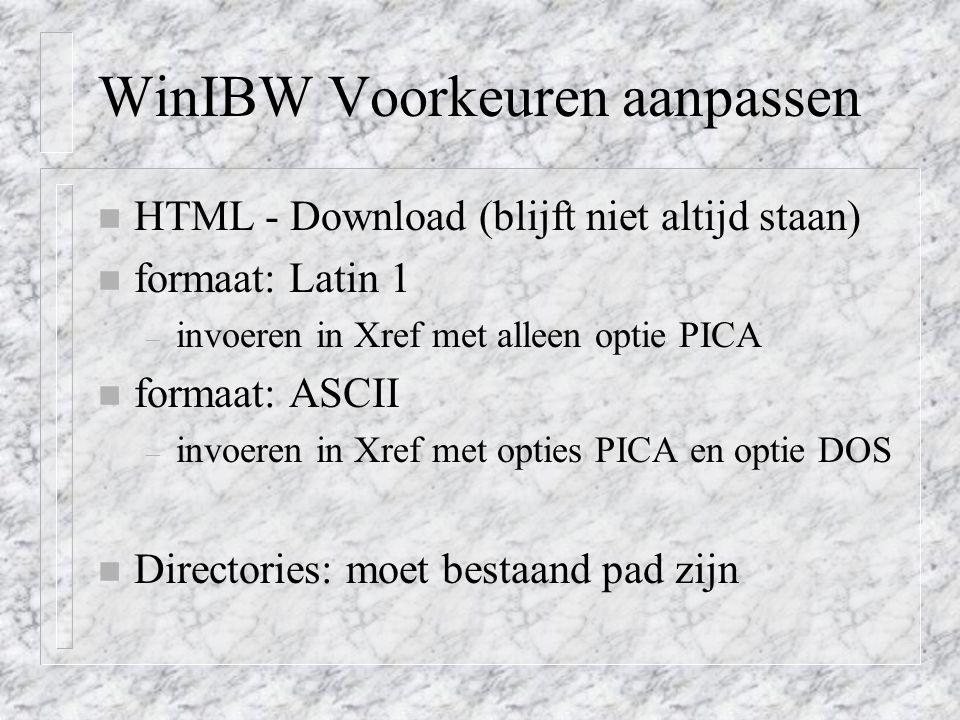 WinIBW Voorkeuren aanpassen