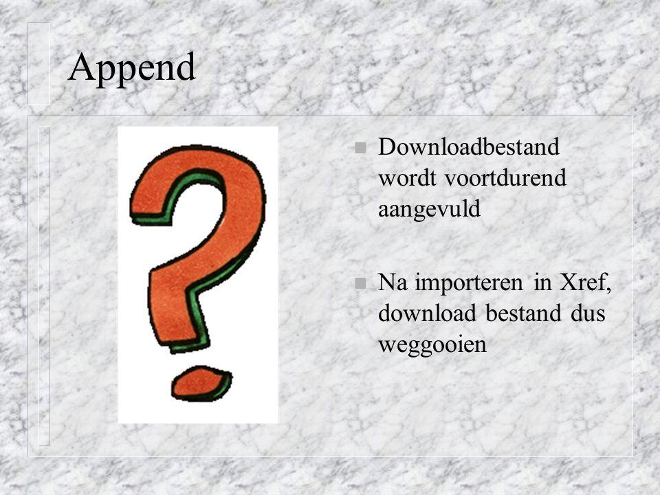 Append Downloadbestand wordt voortdurend aangevuld