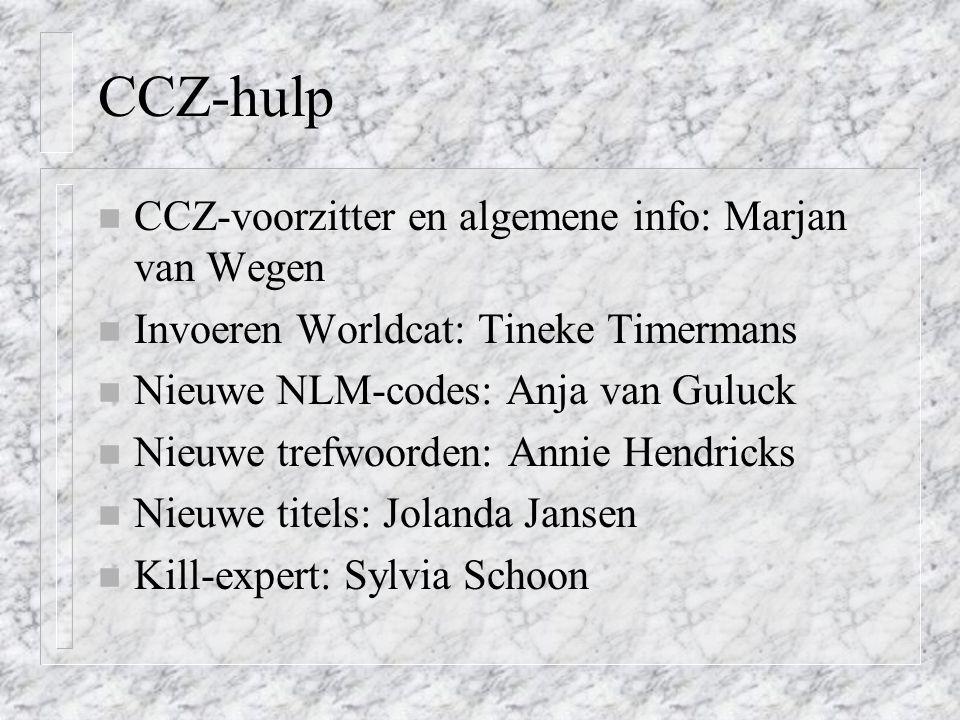 CCZ-hulp CCZ-voorzitter en algemene info: Marjan van Wegen