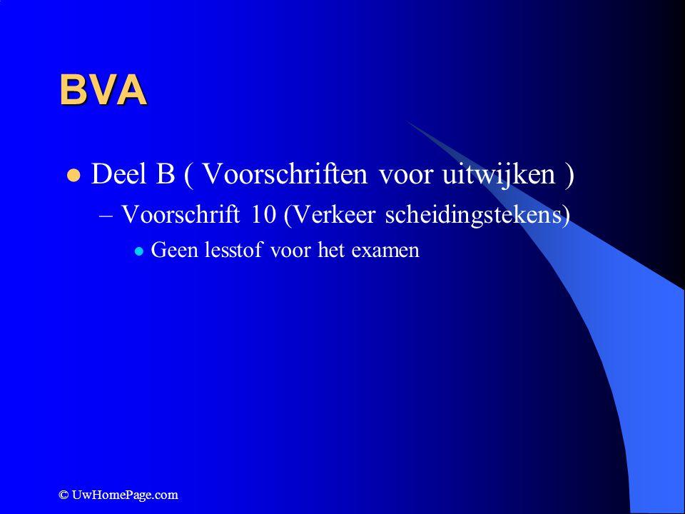 BVA Deel B ( Voorschriften voor uitwijken )