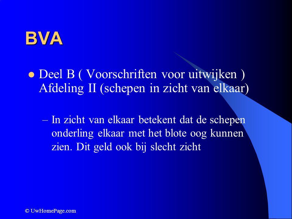 BVA Deel B ( Voorschriften voor uitwijken ) Afdeling II (schepen in zicht van elkaar)