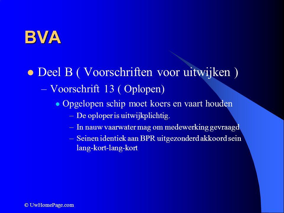 BVA Deel B ( Voorschriften voor uitwijken ) Voorschrift 13 ( Oplopen)
