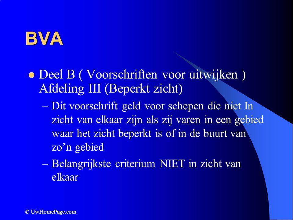 BVA Deel B ( Voorschriften voor uitwijken ) Afdeling III (Beperkt zicht)