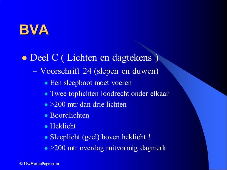 BVA Deel C ( Lichten en dagtekens ) Voorschrift 24 (slepen en duwen)