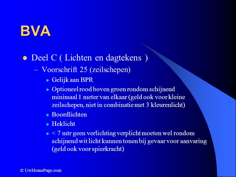 BVA Deel C ( Lichten en dagtekens ) Voorschrift 25 (zeilschepen)